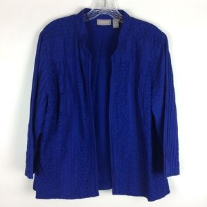 Chico's 2 Blue Eyelet Pleated Open Front Jacket